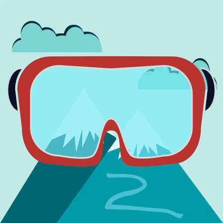 Ski Goggles With Mountain View, Ski mask Vector