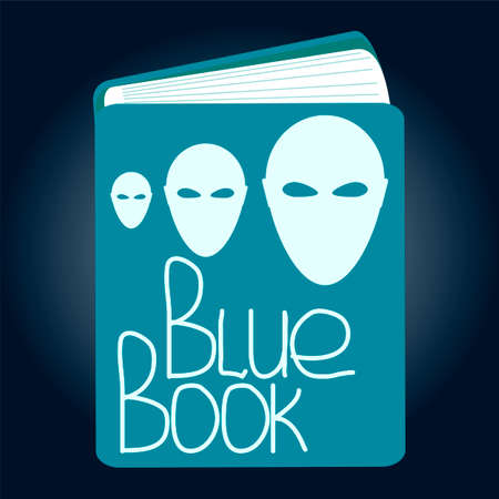 blue book: Alien Head Vector Icon. blue Book project. Illustration