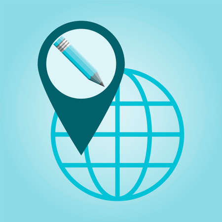global direction: Thin line icon with flat design element of global positioning system pencil, pin destination, point on map, exact coordinates, direction pointer.