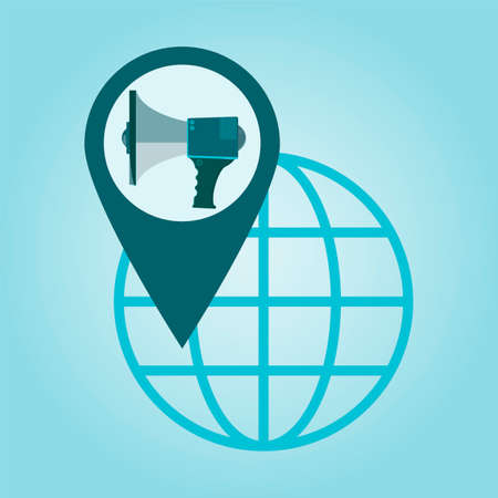 coordinates: Thin line icon with flat design element of global positioning system megaphone, pin destination, point on map, exact coordinates, direction pointer.