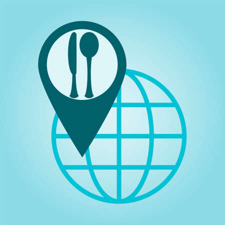 coordinates: Thin line icon with flat design element of global positioning system, pin destination, point on map, exact coordinates, direction pointer, Cooking and kitchen Illustration
