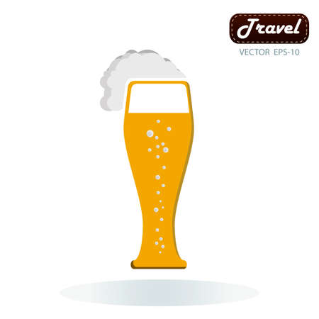 overflowing: Frothy tankard of golden beer with a good head of froth overflowing the glass Illustration