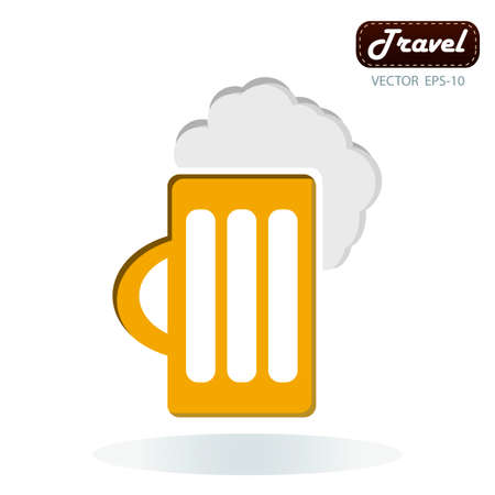 tankard: Frothy tankard of golden beer with a good head of froth overflowing the glass Illustration