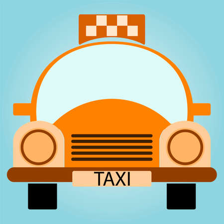 windshield wiper: Vector Yellow Taxi Car - Front view Illustration