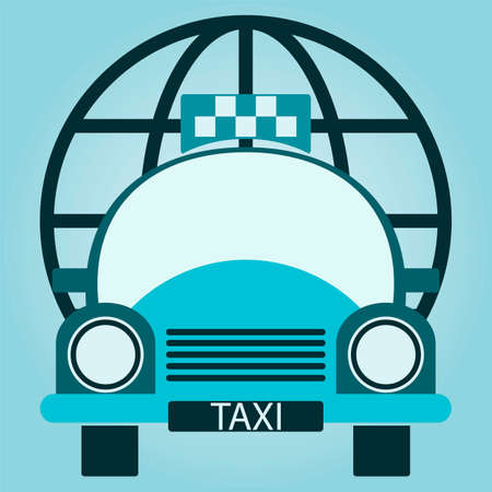 windshield wiper: Vector Taxi Car, globe. Front view Illustration