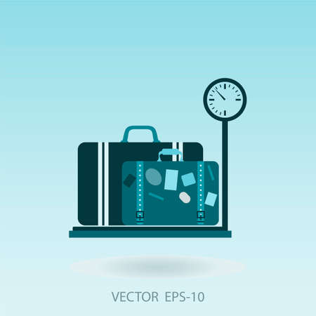 luggage: luggage with tag sitting on weigh scales - illustration