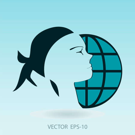 durability: silhouette of a travel girl on a background of the globe