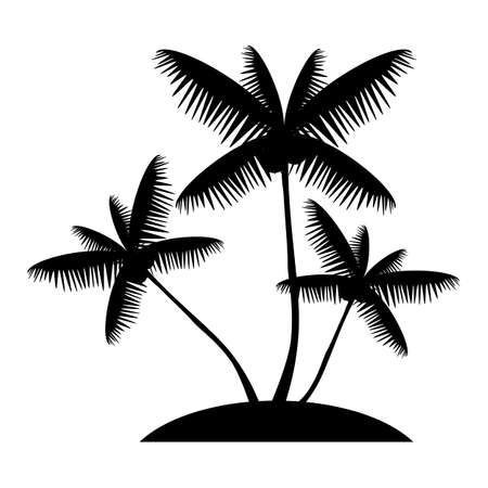 palm tree silhouette: Coconut palm tree silhouette, exotic island web icon. vector design
