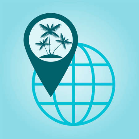 coordinates: Thin line icon with flat design element of global positioning system, pin destination, point on map, exact coordinates, direction pointer, palm