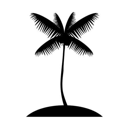 Coconut palm tree silhouette, exotic island web icon. vector design Vector
