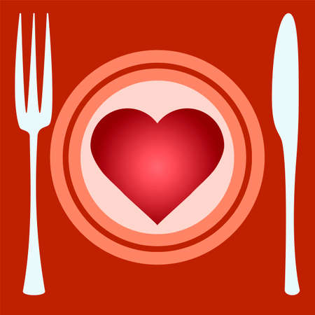 pleasure: illustration of heart on plate, knife and fork. Concept for pleasure of eating, for restaurant menu