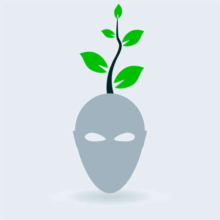 the sprouting: green mind, idea seed sprouting in a brain, Greenboy