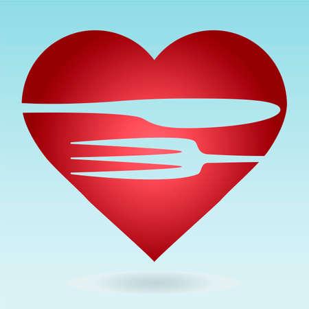 logo de comida: Precioso plantilla de logotipo alimentos. Tenedor y cuchillo siluetas con fondo en forma de coraz�n. Vectores