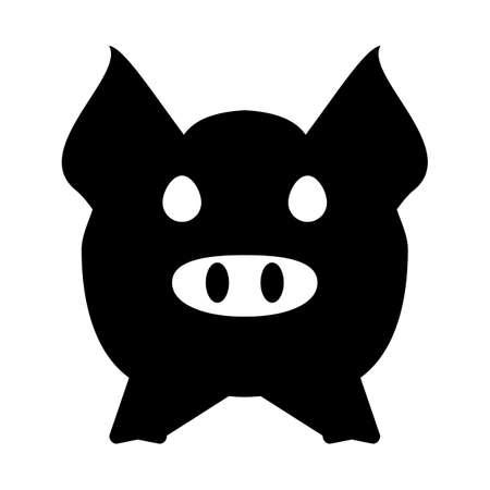 cerdo caricatura: Cabeza de cerdo o icono de la cara. Agricultura y la agricultura concepto.