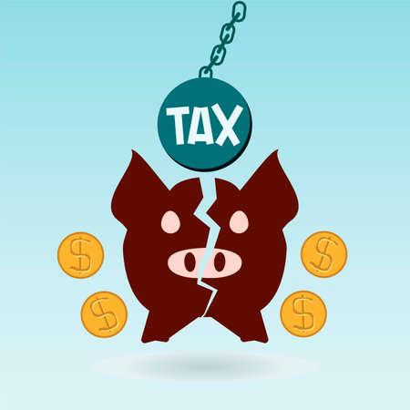 broken trust: Broken piggy bank, dollar coin, tax ball