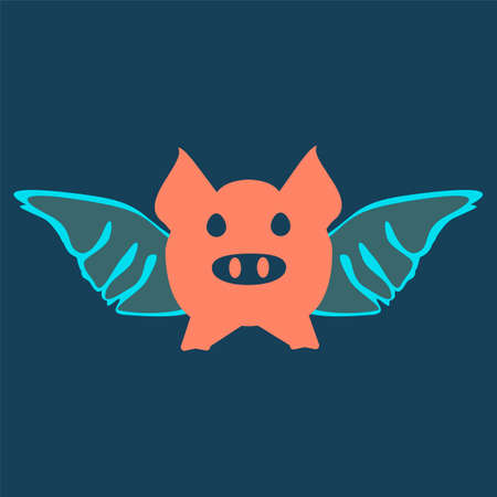 pig: flying pig cartoon. Wings concept.