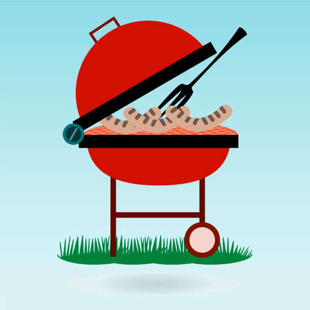 Barbecue. Grilled sausages on forks on the background of the natural landscape, grass concept