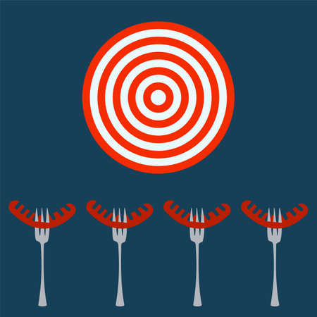 prick: Sausage grill, prick with a fork. Target concept.