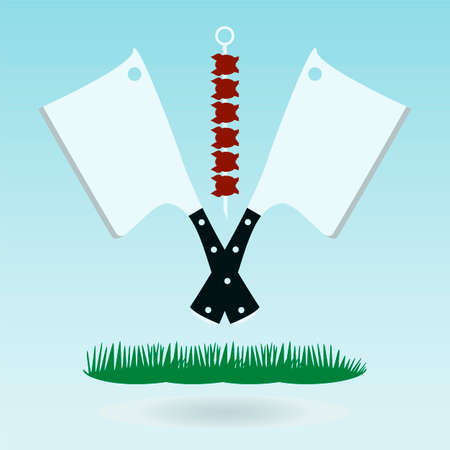 implement: Meat cleaver knife, Axe for meat, Meat chopper. Grass concept.