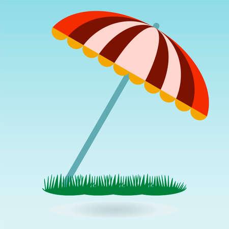 recline: beach umbrella. Grass concept.