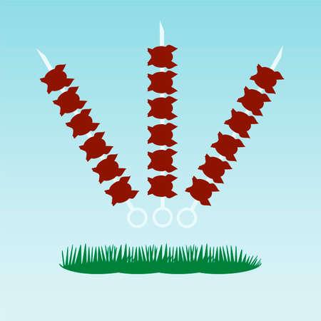 shish kebab: Shish kebab on skewers. Grass concept. Illustration