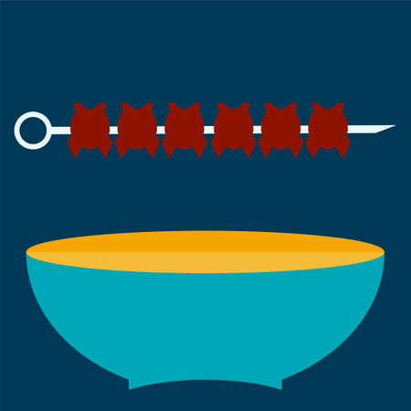 shish: Shish kebab on skewers. Blue plate concept. Illustration