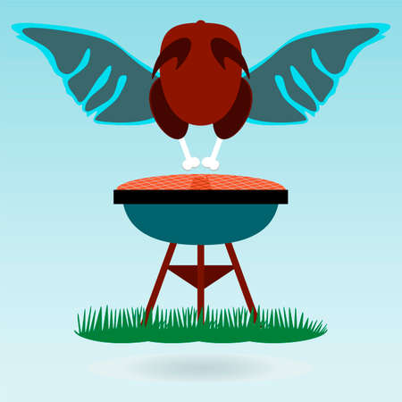 turkey cock: Grill Roasted Chicken Turkey cock, wings. Grass concept. Illustration
