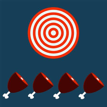 haunch: meat, Ham, Gammon. Target concept. Illustration