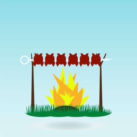 kabob: Shish kebab on skewers. Fire. Grass concept.