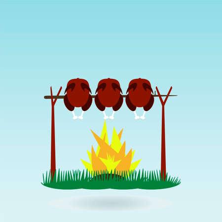 turkey cock: Grill Roasted Chicken Turkey cock. Fire. Grass concept.