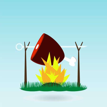 haunch: meat, Ham, Gammon. Fire. Grass concept.
