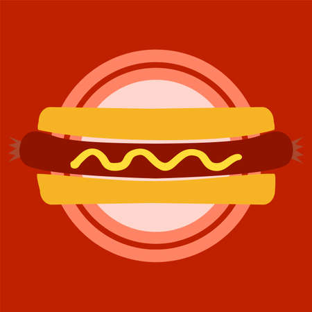 bun: Hotdog Bun. Red place concept. Illustration