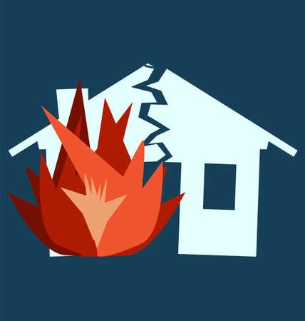 broken house: Fire Damage, silhouette of broken house as illustration of disaster, crisis or divorce