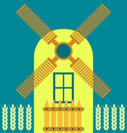 traditional windmill: Windmill modern flat icon, traditional dutch style