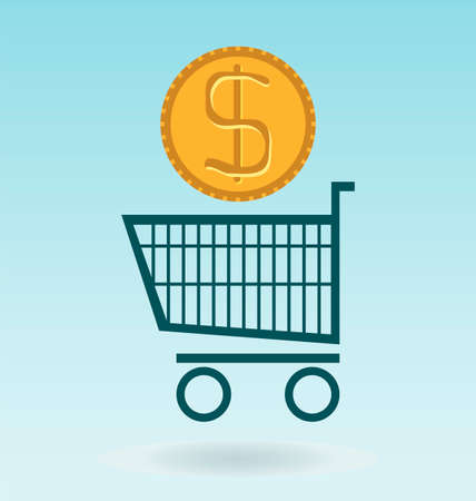 shopping chart: shopping chart with dolar coin