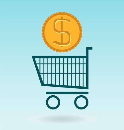 dolar: shopping chart with dolar coin