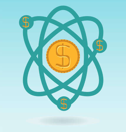 atomic nucleus: abstract physics science model with dollar coins, Business and financial concept Illustration