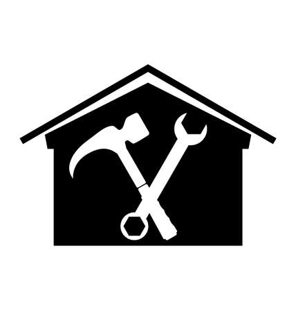 House with crossed spanner and hammer