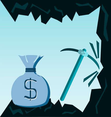 pick money: Cueva de carb�n con pico y bolsa de dinero, Motivaci�n, Intencionalidad. Ilustraci�n de negocio