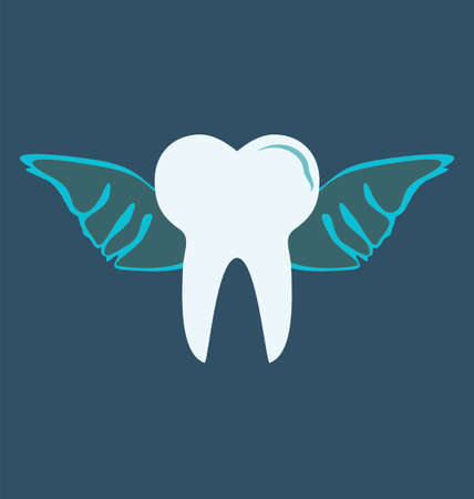 angelic: angelic tooth with wings on blue background Illustration
