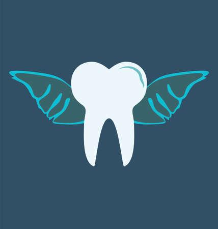 angelic: diente angelical con alas sobre fondo azul Vectores