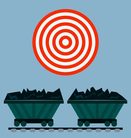 Wagon loaded with coal icon. Target concept.