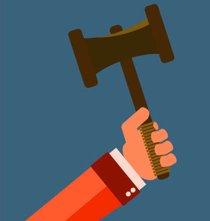 judgment: Gavel in hand. Icon law. Symbol of justice and judgment. Illustration