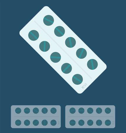 aspirin: Illustration of pills,  Medical concept. Illustration