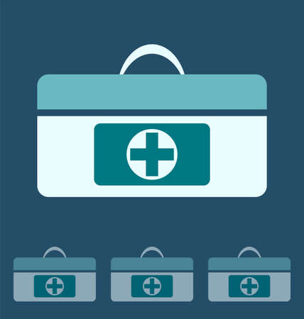 medical case: First aid kit icon, icon of medical case Illustration