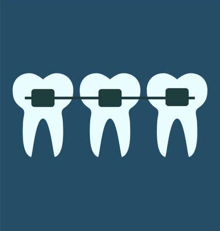 dental braces: frenillos dentales, dientes concepto m�dico Vectores