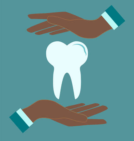 toothcare: Tooth in doctor hands, pictogram icon. Medical concept.