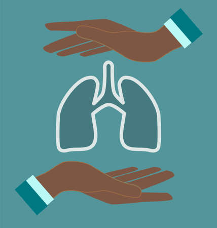 exhale: Human lung in doctor hands. Medical concept.