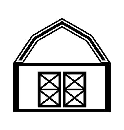 shack: Barn house icon or sign isolated on white background.