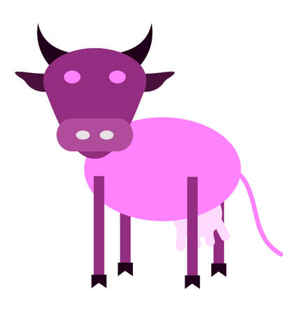 dairy products: dairy products. A cheerful purple cow Illustration